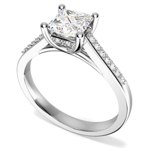 Inel de Logodna Solitaire cu Diamante Mici pe Lateral Dama Aur Alb 18kt cu un Diamant Princess in Centru si Diamante Rotunde Briliant - In Stoc-img1