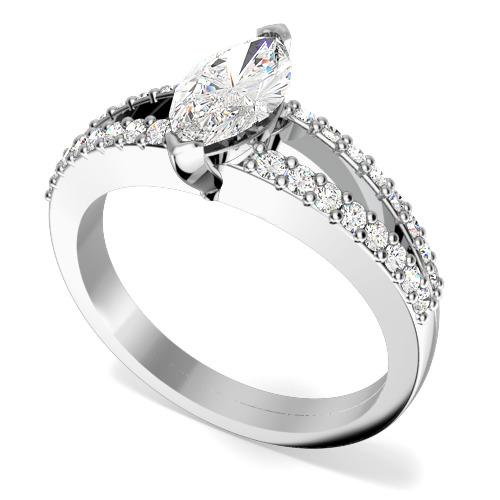 Inel de logodna cu Diamante Dama Aur Alb 18kt cu un Diamant Marchiza si 2 Randuri de Diamante Rotund Briliant-img1