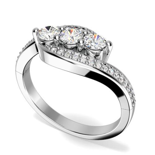 Inel de logodna cu Mai Multe Diamante/Inel cu 3 Diamante Dama Aur Alb 18kt cu 3 Diamante rotund Briliant in Centru si Diamante pe Margini-img1