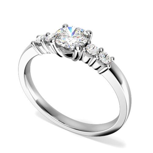 Inel de Logodna cu Mai Multe Diamante/Solitaire cu Diamante Mici pe Lateral Dama Aur Alb 18kt cu Diamante Rotund Briliant in Centru si pe Margini in Setare Gheare-img1