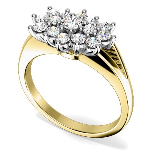 Inel Cocktail cu Diamante/Inel de Logodna Dama Aur Galben si Aur Alb 18kt cu Diamante Rotund Briliant-img1