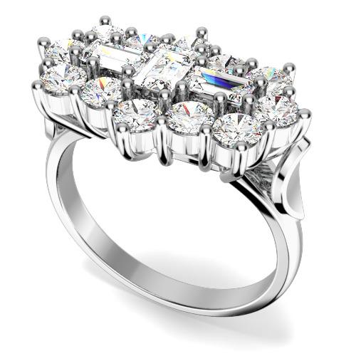 Inel Cocktail/Inel de Logodna cu Diamante Dama Platina cu Diamante Forma Bagheta si Rotund Briliant-img1