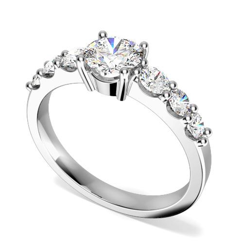 Inel de Logodna cu Mai Multe Diamante/ Solitaire cu Diamante Mici pe Lateral Dama Aur Alb 18kt cu 7 Diamante Forma Rotund Briliant-img1