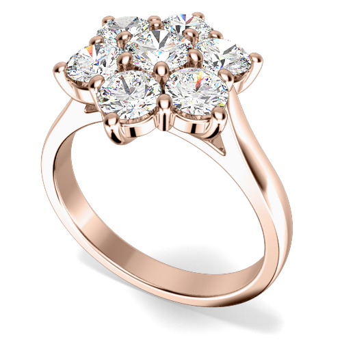Inel de Logodna Cluster cu Mai Multe Diamante Dama Aur Roz 18kt cu 7 Diamante Rotund Briliant in Setare Gheare-img1