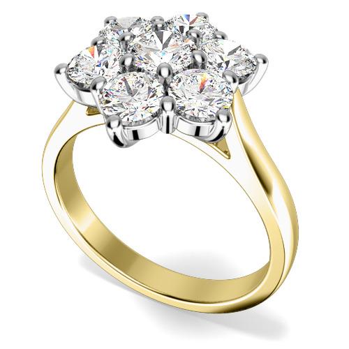 Inel de Logodna Cluster cu Mai Multe Diamante Dama Aur Galben si Aur Alb 18kt cu 7 Diamante Rotund Briliant in Setare Gheare-img1