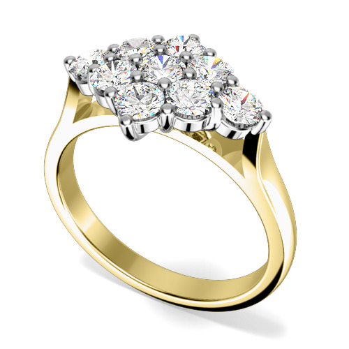 Inel de logodna cu Diamante Dama Aur Galben si Aur Alb 18kt cu 9 Diamante in Setare Gheare-img1