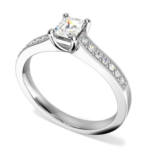 Inel de Logodna Solitaire cu Diamante Mici pe Lateral Dama Aur Alb 18kt cu un Diamant Forma Smarald si 14 Diamante Rotund Briliant-img1