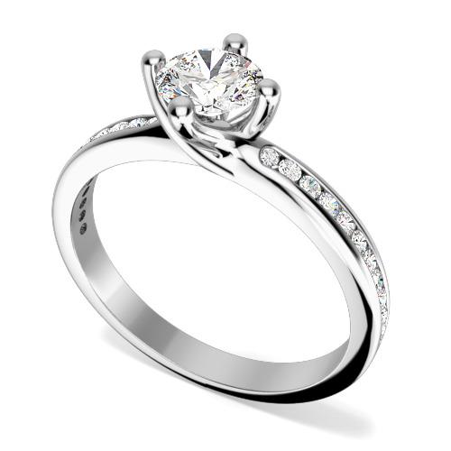Inel de Logodna Solitaire cu Diamante Mici pe Lateral Dama Aur Alb 18kt cu un Diamant Rotund Briliant in Setare 4-Gheare si 11 Diamante Rotund Briliant pe Fiecare Parte-img1