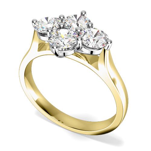Inel de Logodna Cluster cu Mai Multe Diamante Dama Aur Galben si Aur Alb 18kt cu 4 Diamante Rotund Briliant in Setare Gheare-img1