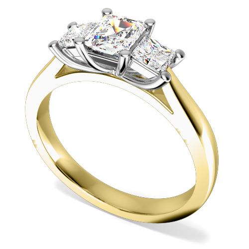 Inel de logodna/Inel cu 3 Diamante Dama Aur Galben si Aur Alb 18kt cu un Diamant Forma Smarald si 2 Diamante Princess in Setare Gheare-img1