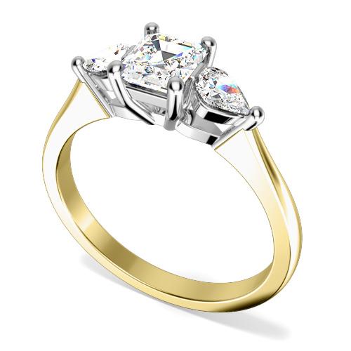 Inel de Logodna cu 3 Diamante Dama Aur Galben si Aur Alb 18kt cu Diamant Central Forma Smarald si 2 Diamante in Forma de Para in Setare cu Gheare-img1