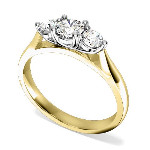 Inel de logodna/Inel cu 3 Diamante Dama Aur Galben si Aur Alb 18kt cu Trei Diamante Rotund Briliant in Setare cu Gheare-img1