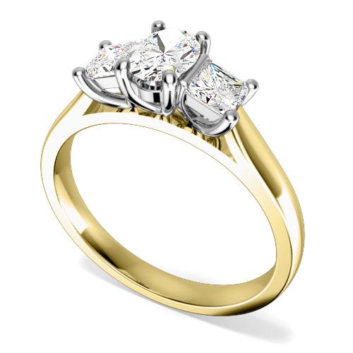 Inel cu 3 Diamante Dama Aur Galben si Aur Alb 18kt cu un Diamant Oval si 2 Diamante Princess in Setare Gheare-img1