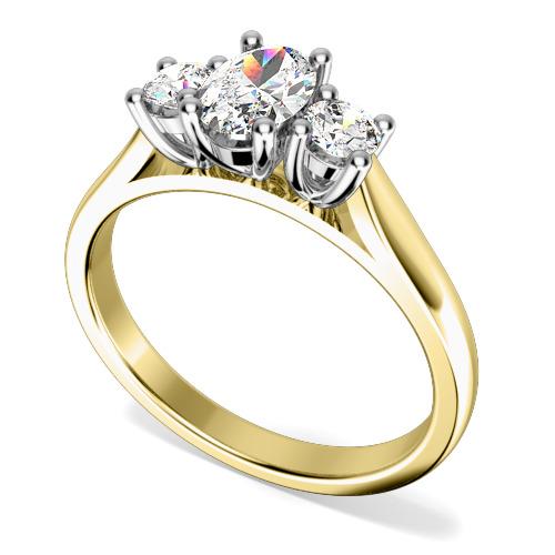 Inel de Logodna cu 3 Diamante Dama Aur Galben si Aur Alb 18kt cu un Diamant Oval in Centru si Diamante Rotund Briliant pe Fiecare Parte in Setare Gheare-img1