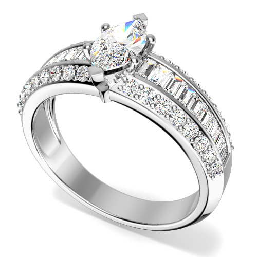 Inel de logodna cu Diamante Dama Platina cu un Diamant Marchiza in Setare Gheare si Diamante Bagheta si Rotund Briliant pe Margini-img1