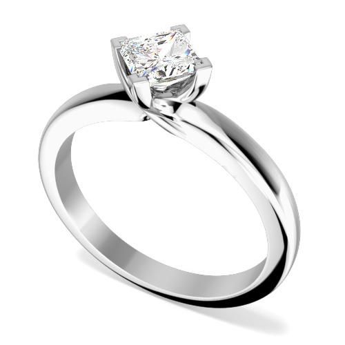 Inel de Logodna Solitaire Dama Platina cu un Diamant Princess Setat cu Gheare, Inel Stil Twist-img1