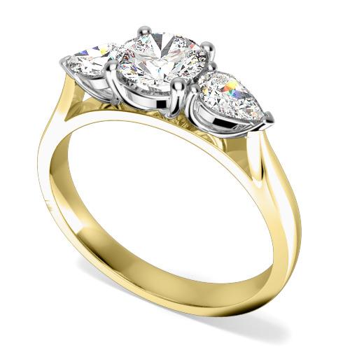 Inel de Logodna cu 3 Diamante Dama Aur Galben si Aur Alb 18kt cu un Diamant Central Rotund Briliant si Diamante in Forma de Para in Setare Gheare pe Fiecare Parte-img1