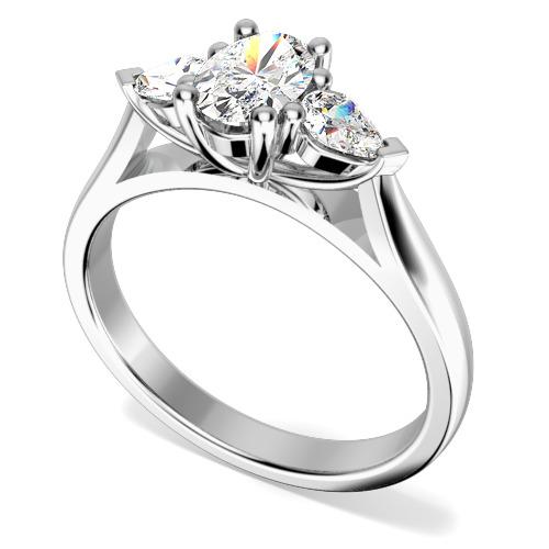 Inel de Logodna cu 3 Diamante Dama Aur Alb 18kt cu un Diamant Oval si 2 Diamante in Forma de Para-img1