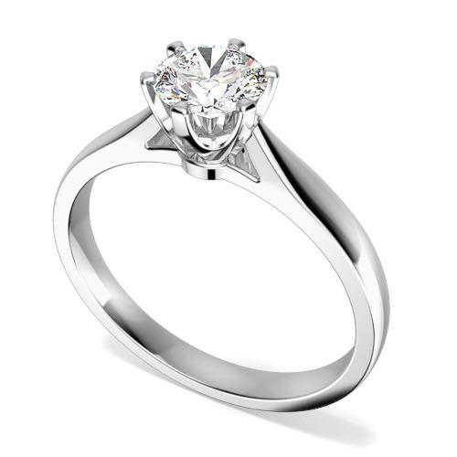 Inel de Logodna Solitaire Dama Aur Alb 9kt cu un Diamant Rotund Briliant in Setare Gheare-img1