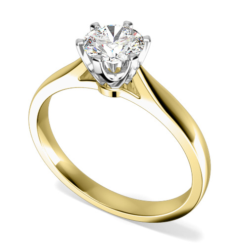 RD537YW Inel de Logodna Solitaire Dama Aur Galben si Aur Alb 18kt cu un Diamant Rotund Briliant in Setare Gheare-img1