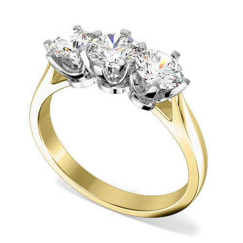 Inel de Logodna cu 3 Diamante Dama Aur Galben si Aur Alb 18kt cu 3 Diamante Rotund Briliant in Setare Gheare-img1