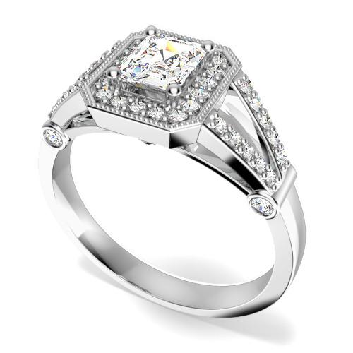 Inel Cocktail/Inel de Logodna cu Diamante Dama Platina cu un Diamant Central Forma Smarald si Diamante Rotunde Briliant Imprejur-img1