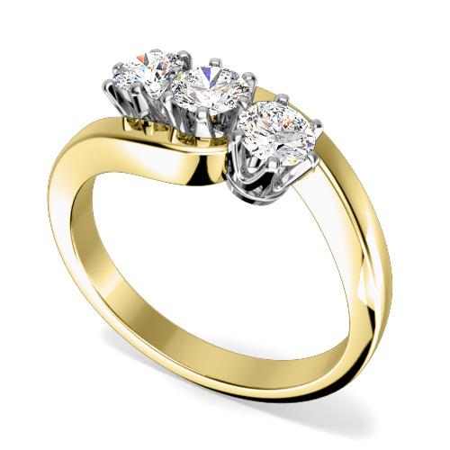 Inel de Logodna cu 3 Diamante Dama Aur Galben si Aur Alb 18kt cu 3 Diamante Rotund Briliant in Setare Gheare, Stil Rasucit-img1