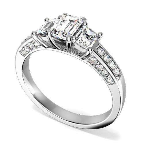 Inel de Logodna cu 3 Diamante Dama Aur Alb 18kt cu 3 Diamante in Forma Smarald si Diamante Rotund Briliant pe Margini in Setare Gheare-img1