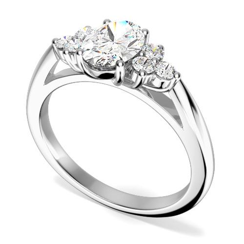 Inel de Logodna/Inel cu 3 Diamante Dama Aur Alb 18kt cu un Diamant Oval in Centru si Diamante Rotund Briliant pe Fiecare Parte-img1
