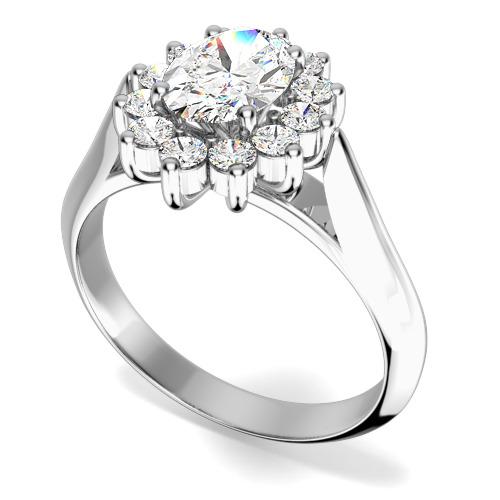 Inel Cocktail/Inel de Logodna cu Diamante Dama Aur Alb 18kt cu un Diamant Forma Ovala si Diamante Rotunde Briliant Setate cu Gheare-img1