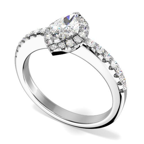 Inel Cocktail/Inel de Logodna cu Diamante Dama Aur Alb 18kt cu Diamant Forma Marchiza si Diamante Rotunde Mici-img1