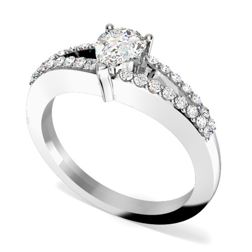 Inel de Logodna Solitaire cu Diamante Mici pe Lateral Dama Aur Alb 18kt cu Diamant Central in Forma de Para si Diamante Rotund Briliant in Jur in Setare Gheare-img1