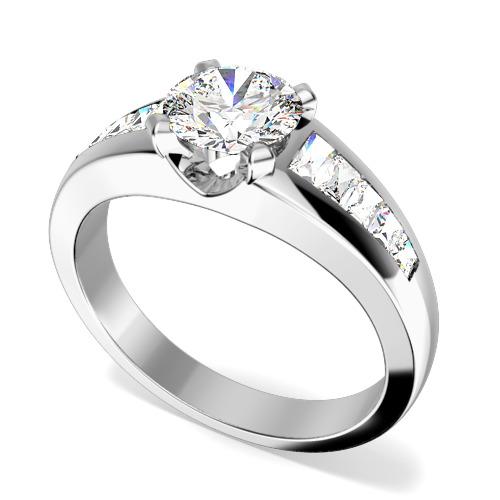 Inel de Logodna cu Diamante Dama Aur Alb 18kt cu un Diamant Rotund Briliant in Centru si Diamante Forma Bagheta pe Margini-img1