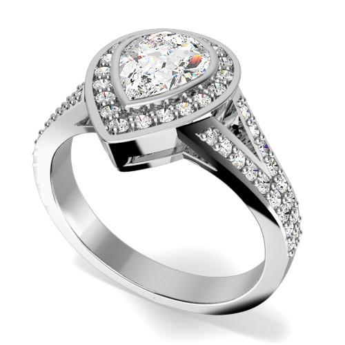 Inel de Logodna Cluster Dama Aur Alb 18kt cu un Diamant in Forma de Para in Setare Rub-Over si Diamante Rotund Briliant pe Margini-img1