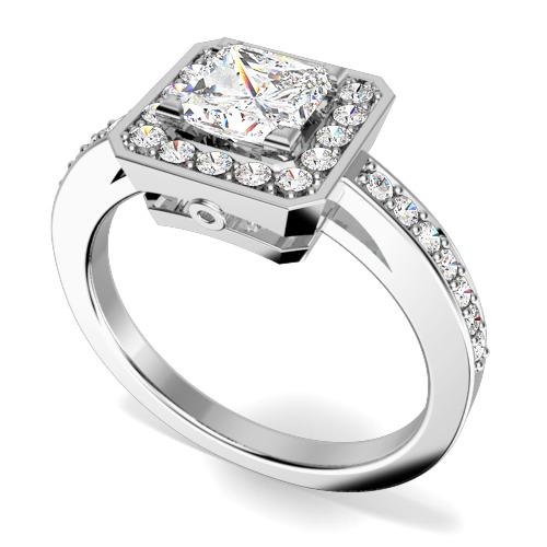 Inel de Logodna Solitaire cu Diamante Mici pe Lateral din Platina cu un Diamant Princess si Diamante Rotunde Briliant-img1
