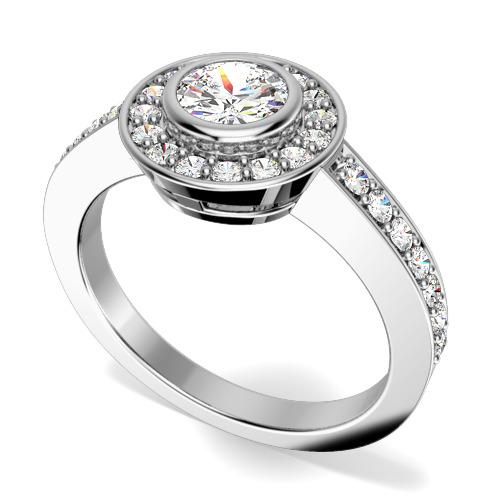 Inel de Logodna Cluster cu Mai Multe Diamante Dama Aur Alb 18kt cu un Diamant Central Rotund Briliant in Setare Rub-Over si Diamante Mici pe Margini-img1