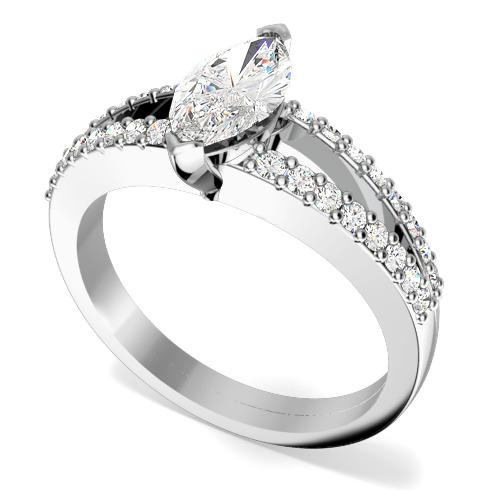 Inel de Logodna Solitaire cu Diamante Mici pe Lateral Dama Aur Alb 18kt cu Diamant Central Marchiza si Diamante Rotund Briliant in Jur in Setare Gheare-img1