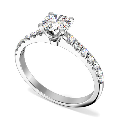 Inel de Logodna Solitaire cu Diamante Mici pe Lateral Dama Platina cu un Diamant Rotund Briliant In Centru si Diamante Rotund Briliant Mici pe Lateral-img1