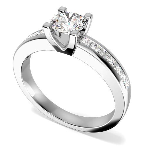 Inel de Logodna cu Diamante Dama Aur Alb 18kt cu un Diamant Rotund Briliant in Centru si Diamante Mici Princess pe Margini-img1