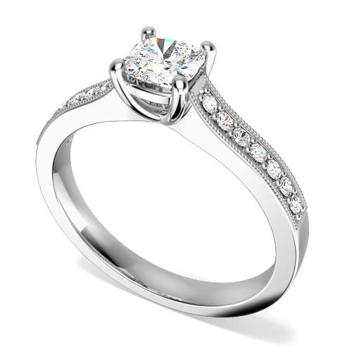 Inel de Logodna Solitaire cu Diamante Mici pe Lateral Dama Aur Alb 18kt cu Diamant Cushion in Centru si 7 Diamante Mici Rotunde pe Lateral in Setare Gheare-img1