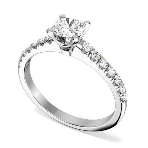 Inel de Logodna Solitaire cu Diamante Mici pe Lateral Dama Aur Alb 18kt cu Diamant Cushion in Centru si Diamante Mici Rotunde-img1