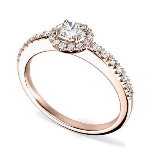 Inel de Logodna cu Diamante Dama Aur Roz 18kt cu Diamante Rotunde Briliant, Stil Halo si Diamante Laterale in Stoc-img1