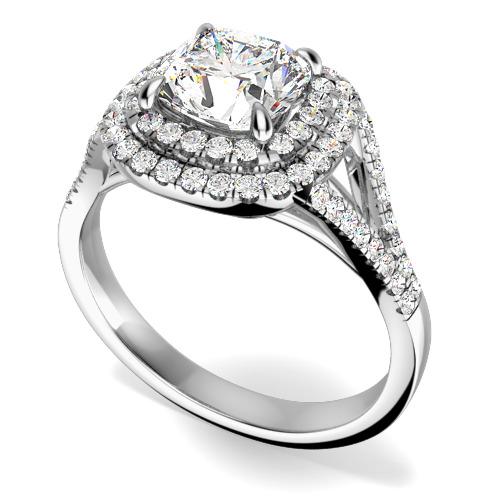 Inel Cocktail/Inel de Logodna cu Diamante Dama Aur Alb 18kt cu un Diamant Central Cushion Stil Dublu Halo-img1