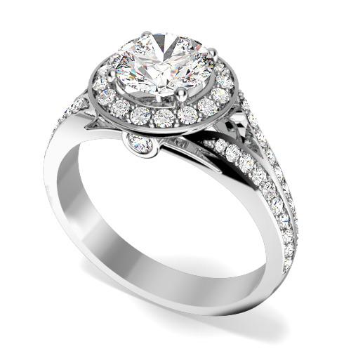 Inel de Logodna cu Diamante Dama Aur Alb 18kt cu un Diamant Central Rotund Briliant si Diamante Mici pe Margini in Setare Gheare-img1