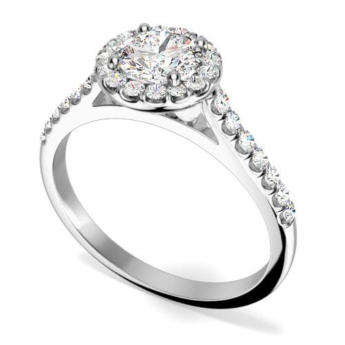 Inel de Logodna Tip Halo cu Mai Multe Diamante Dama Platina cu un Diamant Central Rotund Briliant Si Diamante Mici Imprejur si pe Margini-img1