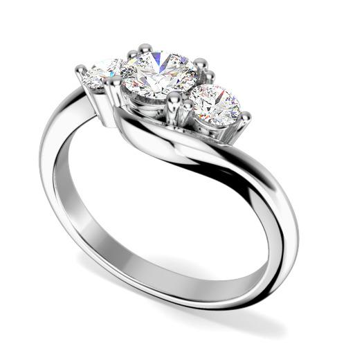 Inel cu 3 Diamante Dama Aur Alb 18kt cu 3 Briliante Rotunde, Stil Twist-img1