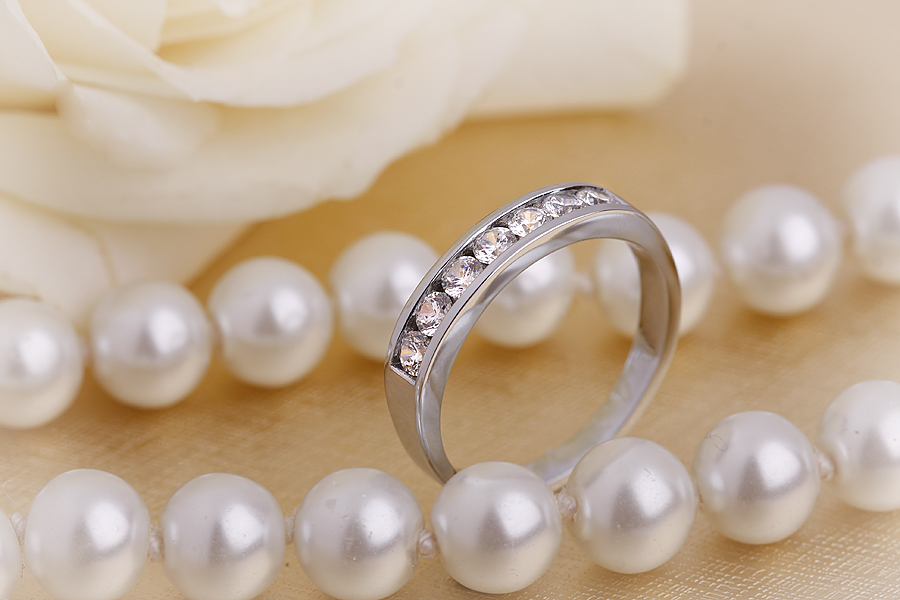 Half Eternity Ring/Diamond Set Wedding Ring for women in platinum with 7 round diamonds in channel setting-img1