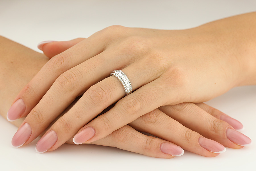 Half Eternity Ring/Dress Cocktail Ring for women in 18ct white gold with princess cut & round diamonds-img1