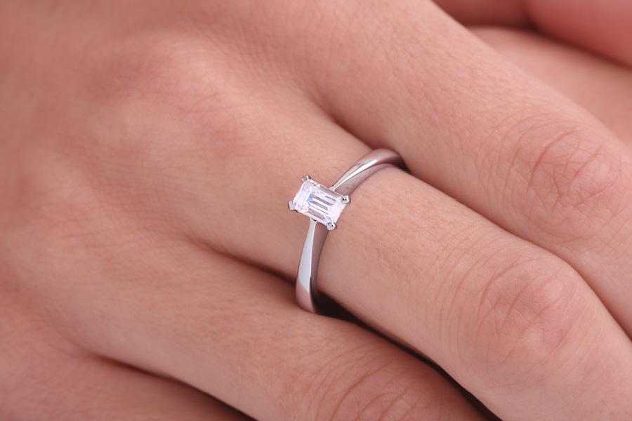 Single Stone Engagement Ring for Women in Platinum with an Emerald Cut Diamond in a Wed-Fit Setting-img1