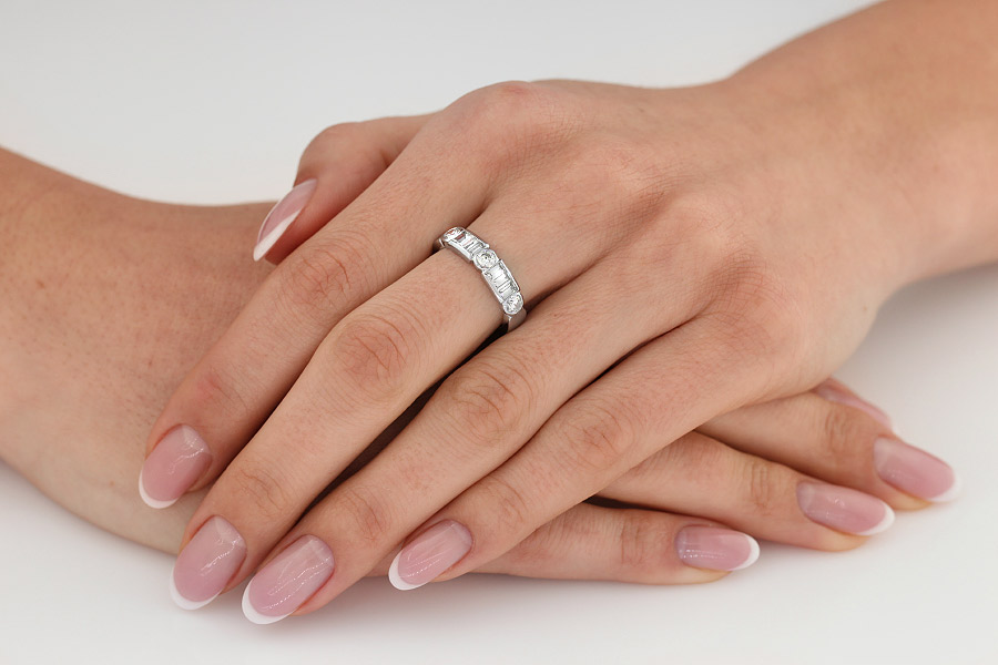 Half Eternity Ring for women in 18ct white gold with round and baguette cut diamonds-img1